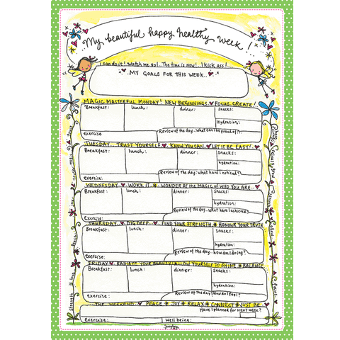 My beautiful happy healthy week - A4 size planner - Juicy Lucy Designs
