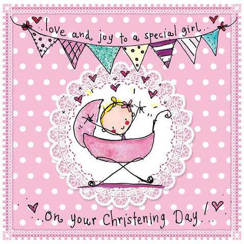 Love and joy to a special girl on your Christening Day! - Juicy Lucy Designs