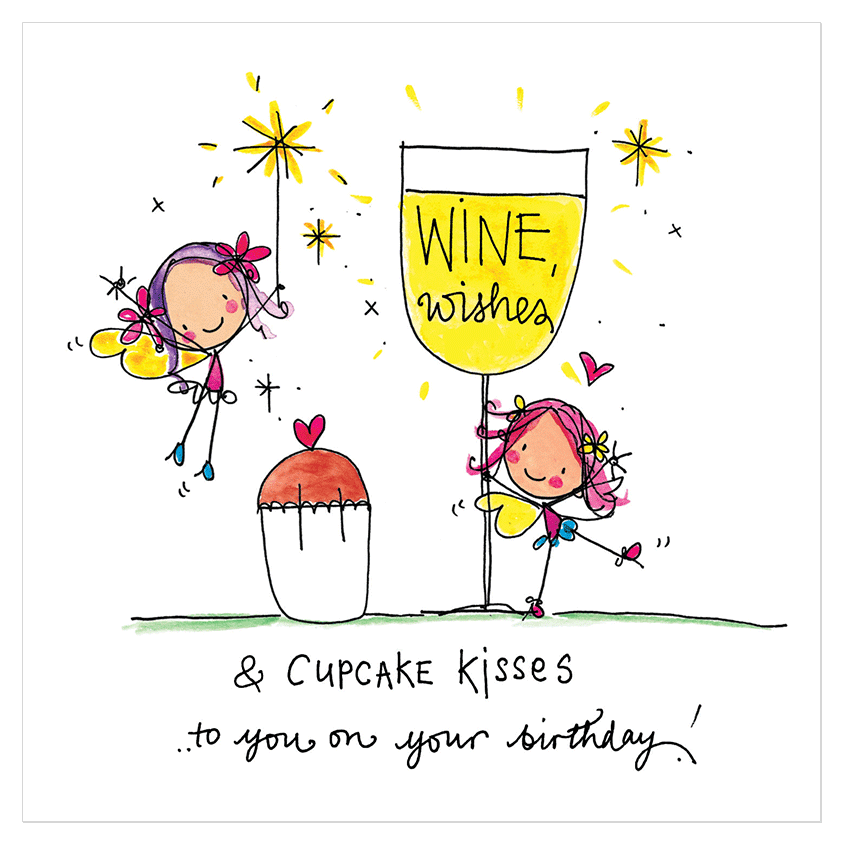 Wine Wishes And Cupcake Kisses To You On Your Birthday
