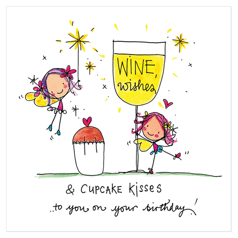 Wine wishes and cupcake kisses to you on your birthday! - Juicy Lucy Designs