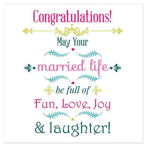 Congratulations! May your married life be full of fun... - Juicy Lucy Designs