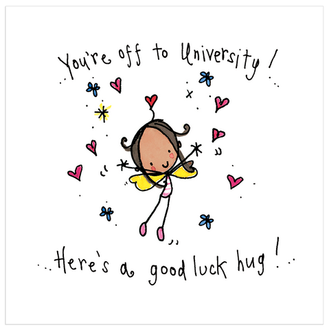 You're off to University! Here's a good luck hug! - Juicy Lucy Designs