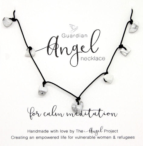 Guardian Angel Necklace - For Calm Meditation (Howlite)