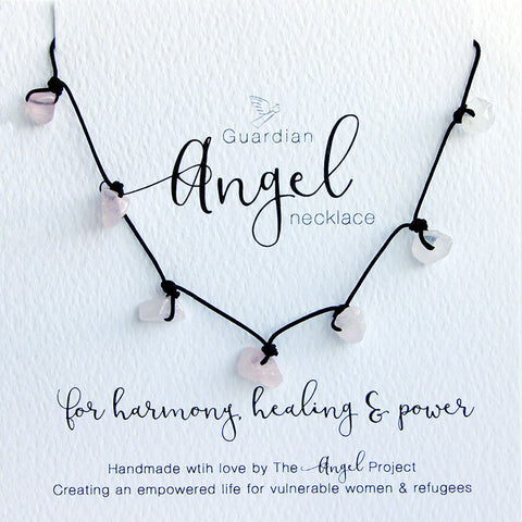 Guardian Angel Necklace - For Harmony, Healing & Power (Pink Quartz)