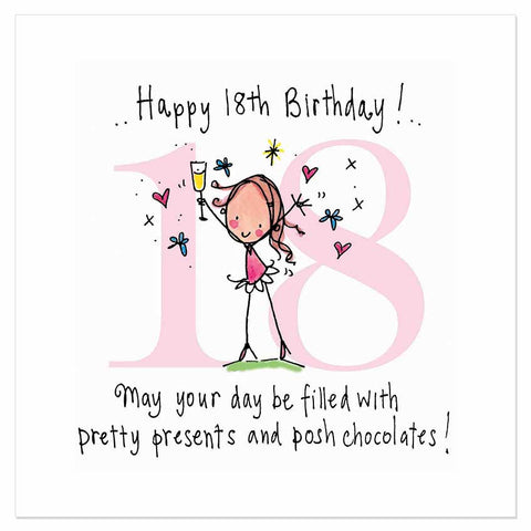 Happy 18th Birthday! May your day be filled with presents and posh chocolates! - Juicy Lucy Designs