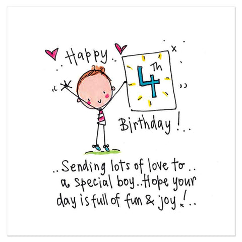 Happy 4th Birthday! Sending lots of love to a special boy.. Hope your day is full of fun & joy! - Juicy Lucy Designs