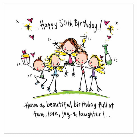 Happy 50th Birthday! Have a beautiful birthday full of fun, love, joy & laughter! - Juicy Lucy Designs
