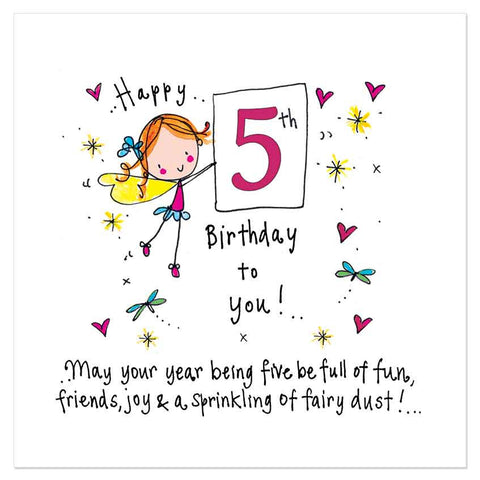 Happy 5th Birthday to you! May your year being five be full of fun, friends, joy & a sprinkling of fairy dust! - Juicy Lucy Designs