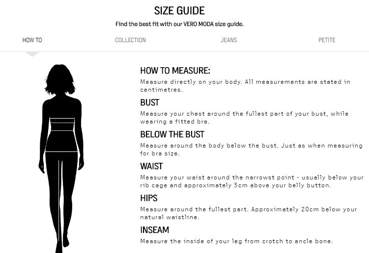 Vero moda jacket size guide