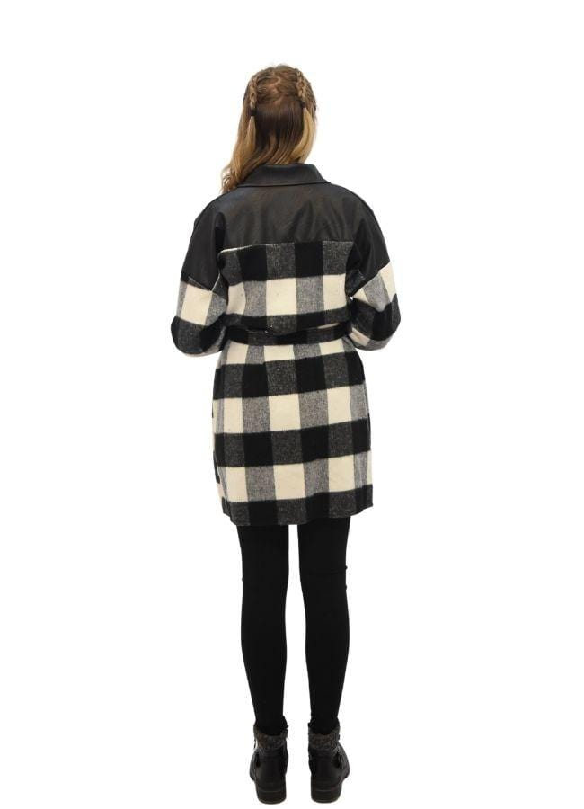 Independent Womens ONE SIZE / BLACK Hanna Check PU Detail Shacket 69161