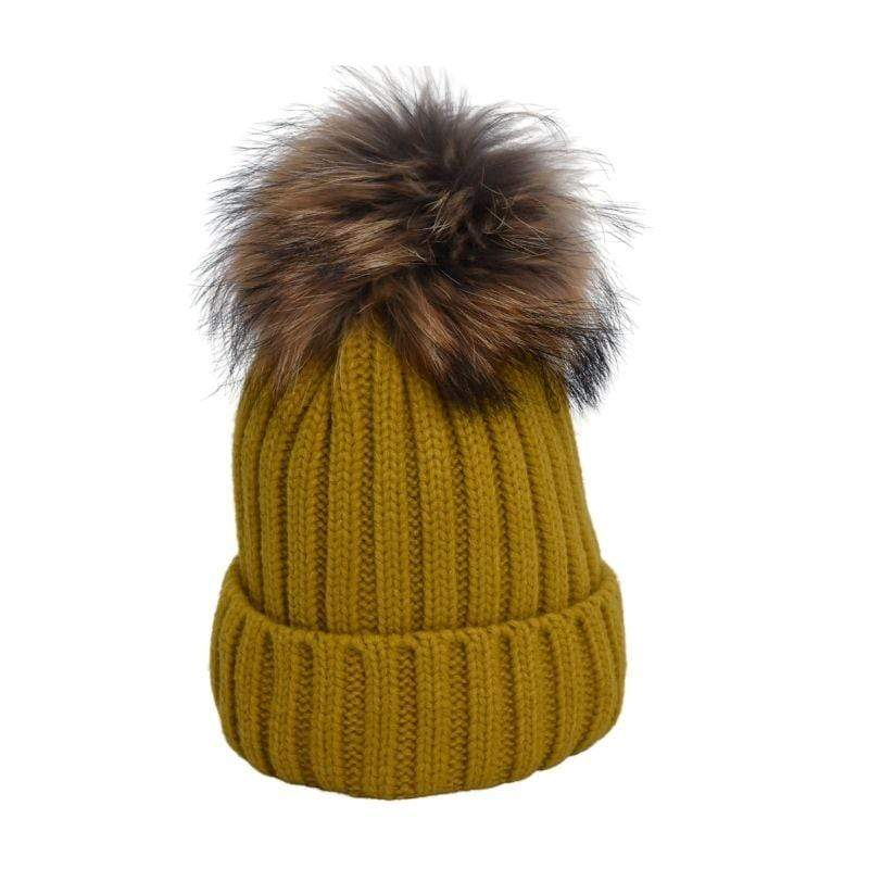 Independent Womens ONE SIZE / MUSTARD Heather Fur Lined Pom Pom Hat 17171-AC