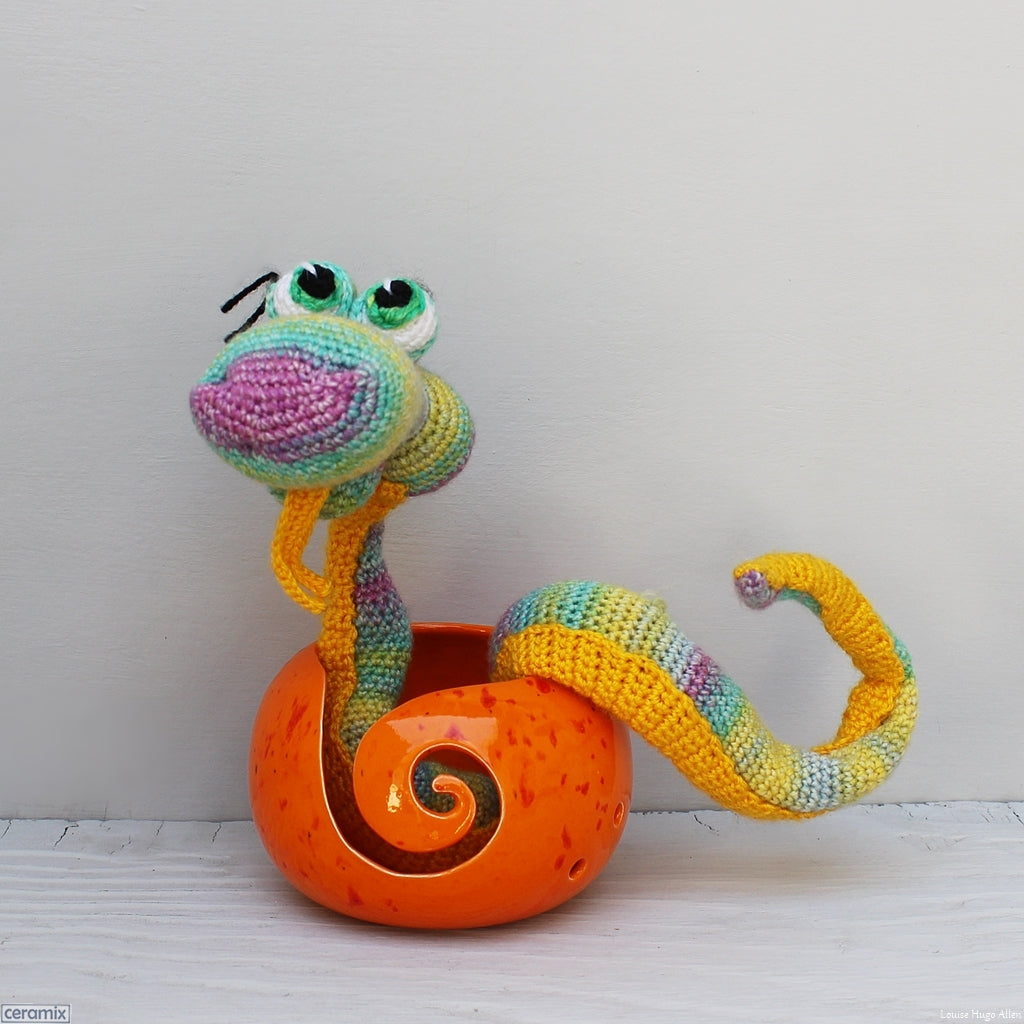 Yarn bowls and Carlien McPhee crochet characters.