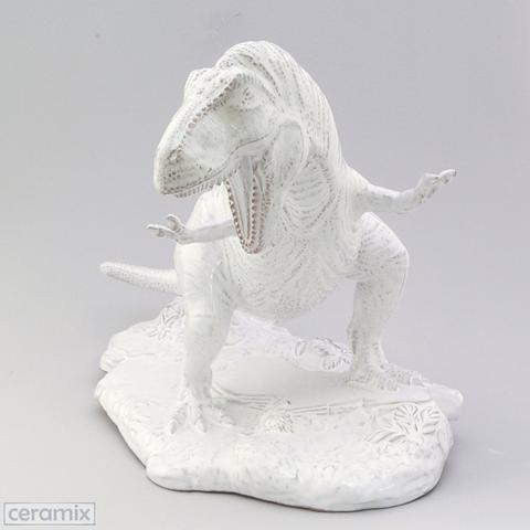 Ceramic Dinosaur in Terracotta clay glazed white by Ceramix