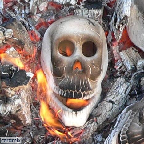Fire Zombie Skull-Head Unglazed Ceramic