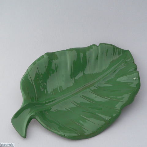 Green Tropical Banana Leaf Platter by Ceramix