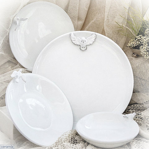 White Dove Round Plates & Bowls by Ceramix. Handmade in South Africa from African Terracotta clay & glazed White.