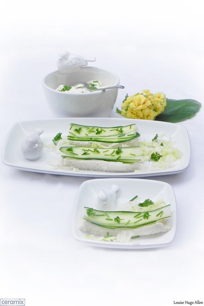 Open Cucumber Sandwiches on Dove Plates by Ceramix. Handmade ceramics from a pottery in South Africa.