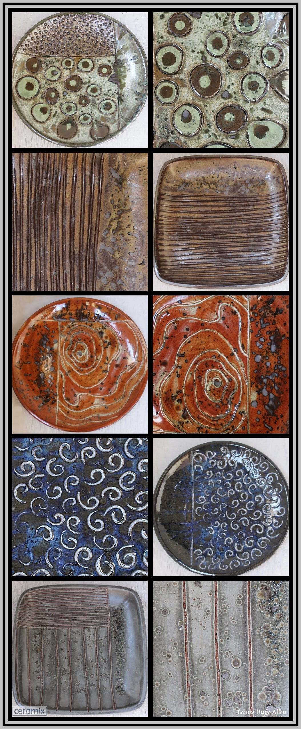 5 Handmade Stoneware platters by Margaret Melville at the Ceramix pottery in South Africa.