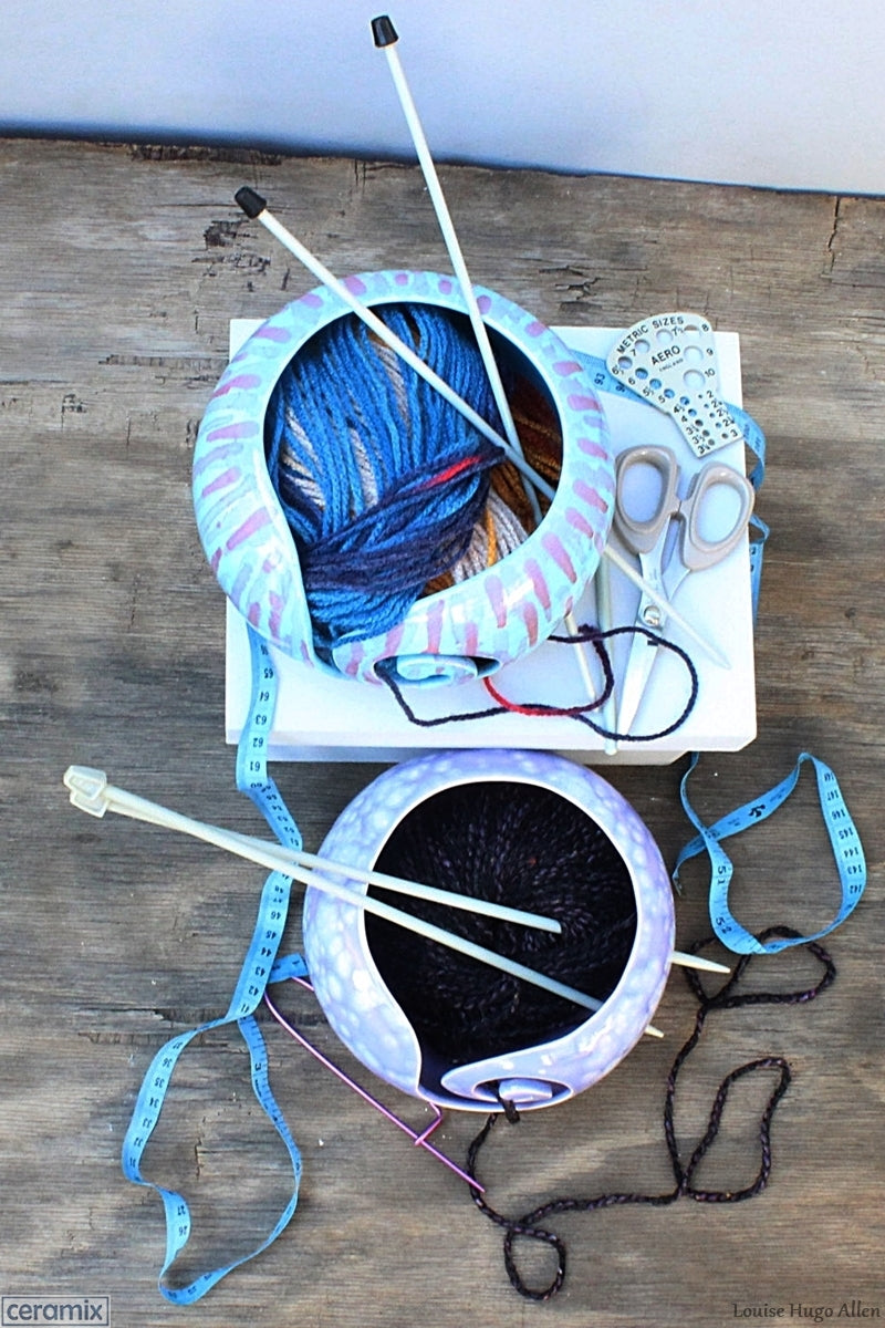 Getting creative with the Abstract Turquoise & Divine Purple Yarn Bowl Flat Lay by Margaret Melville Hugo of Ceramix