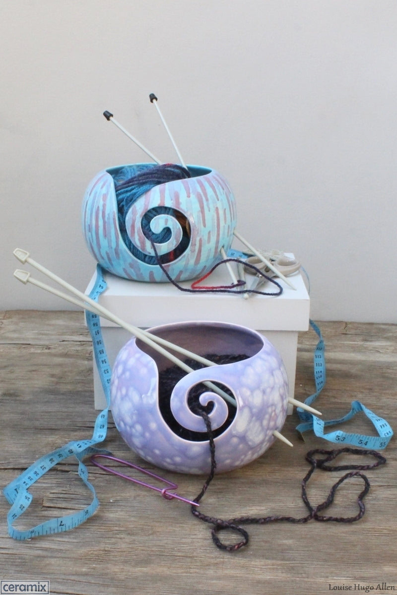 One of a kind Abstract Turquoise & Divine Purple Yarn Bowls Handmade by Margaret Melville Hugo at Ceramix