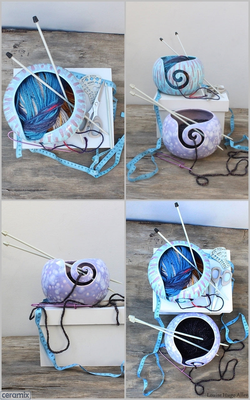 Abstract Turquoise and Divine Purple Yarn Bowl Mood Board by Ceramix  in South Africa