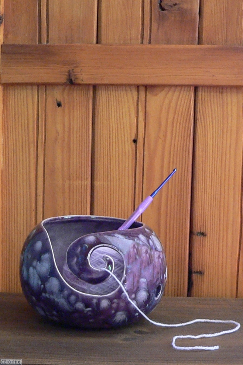 Ceramic Paradiso Purple Small Round Yarn Bowl Handmade in South Africa by Margaret Melville Hugo at Ceramix