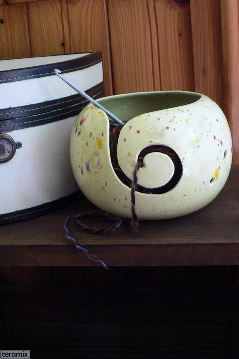 Ceramic Summer Delight Yellow Large Round Yarn Bowl Handmade by Margaret Melville Hugo at Ceramix