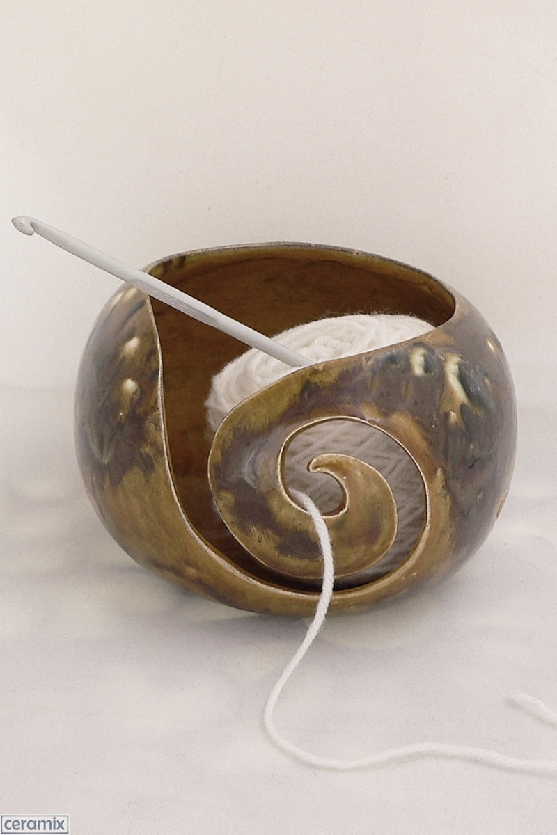 Ceramic Tigers Eye Small Round Yarn Bowl Handmade by Margaret Melville Hugo at Ceramix
