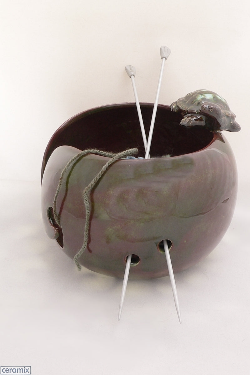 Ceramic Tortoise Destiny Large Round Yarn Bowl Handmade in South Africa by Margaret Melville Hugo at Ceramix