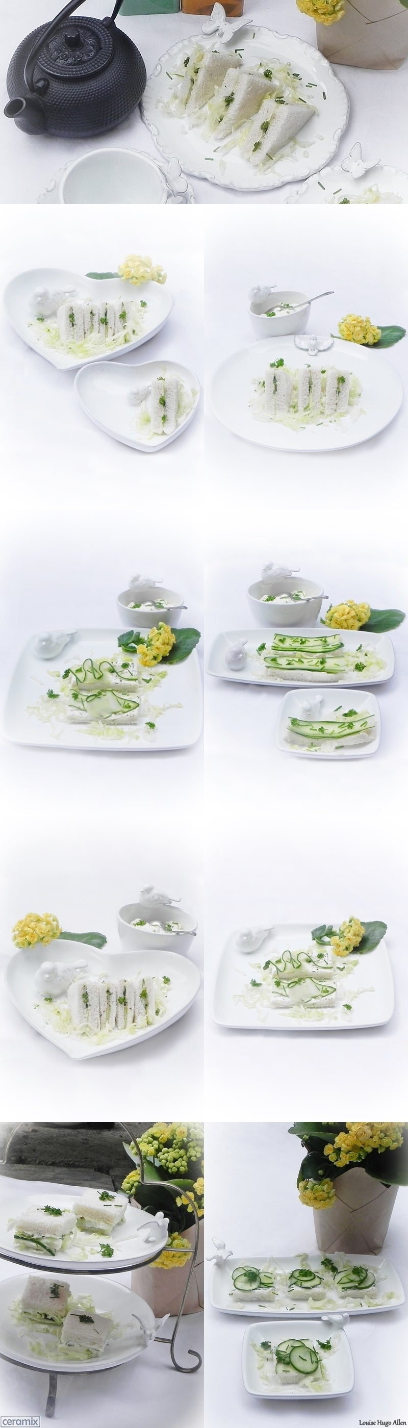 Cucumber Sandwiches served in 4 different ways on Ceramix ware.