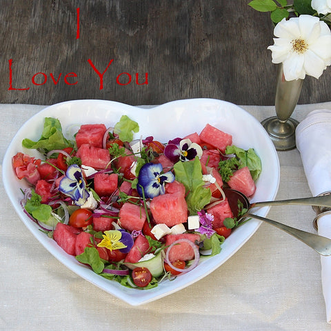 Make this delicious watermelon salad in your large white heart bowl by Ceramix.