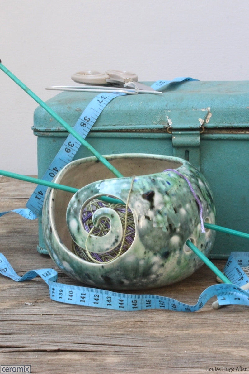 One of a kind Motley Green Yarn Bowl by Margaret Melville Hugo at Ceramix