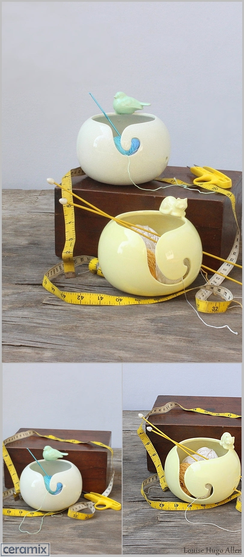 Margaret Melville Hugo handmade the Peaceful Song Green Bird and Butterball Yellow Cat Yarn Bowls at Ceramix