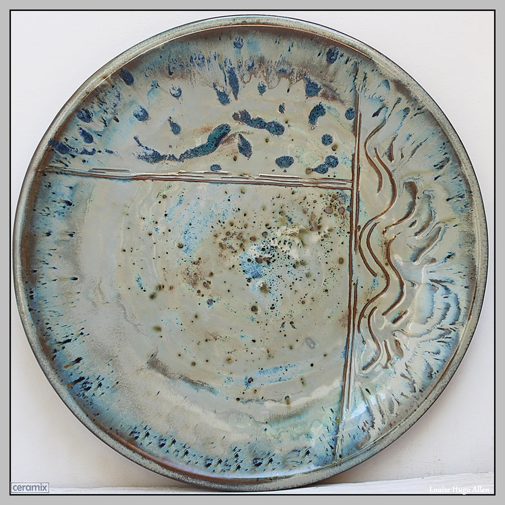 Large Stoneware Sea Delight Platter by Margaret Melville from the Ceramix Pottery in South Africa
