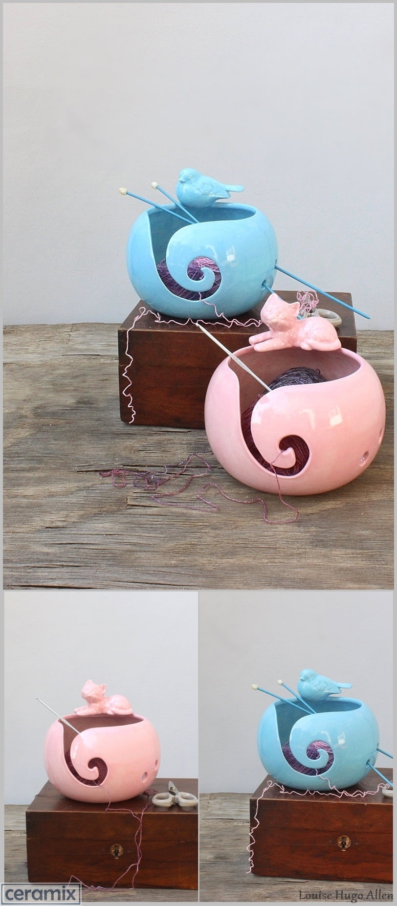 Handmade Turquoise Delight Bird & Pink Lady Cat Yarn Bowls by Margaret Melville Hugo at Ceramix-vert