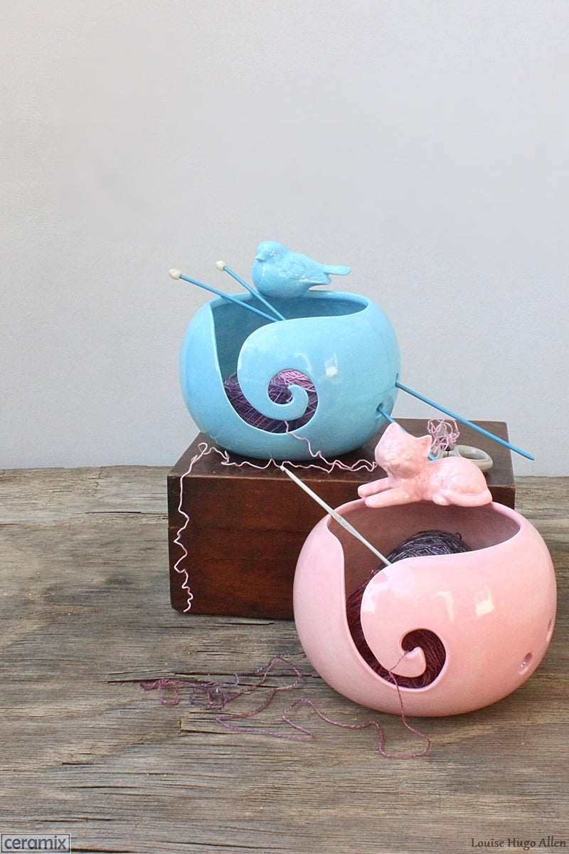 Handmade in South Africa Turquoise Delight Bird & Pink Lady Cat Yarn Bowls by Margaret Melville Hugo of Ceramix