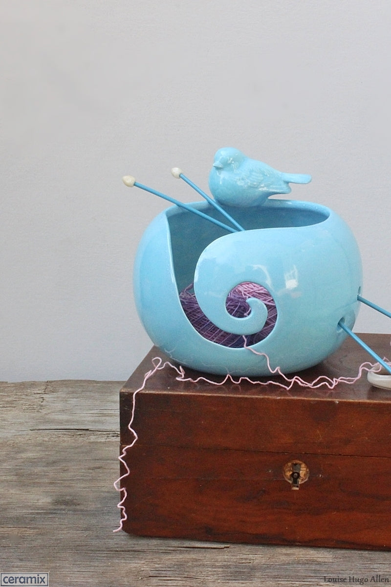 Get crocheting while using your Turquoise Delight Bird Yarn Bowl by Margaret Melville Hugo of Ceramix