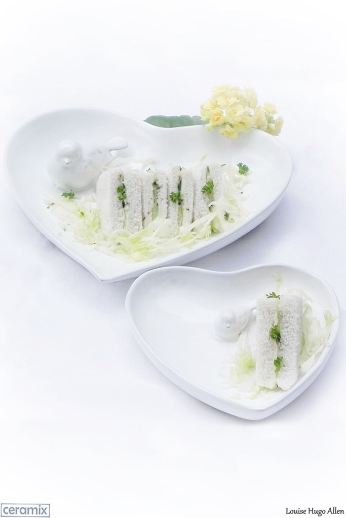 Traditional English Cucumber Sandwiches served in Ceramix Bird Heart Bowls. Handmade ceramics from a Pottery in South Africa.