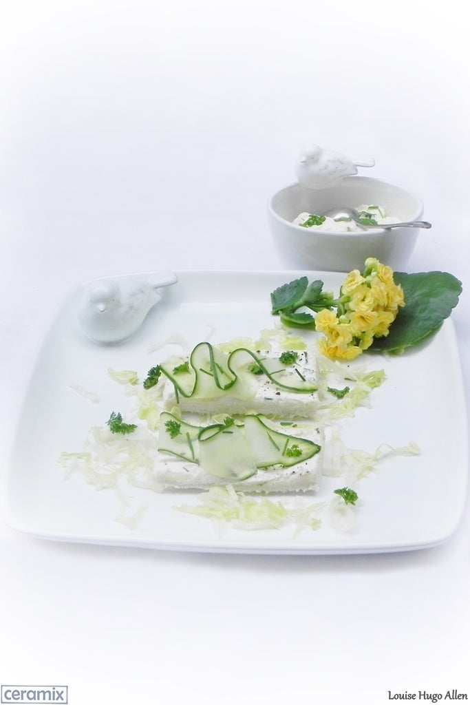 Open Rectangular Cucumber Sandwich with Cream Cheese served on a Ceramix Bird Plate. Handmade South African ceramics