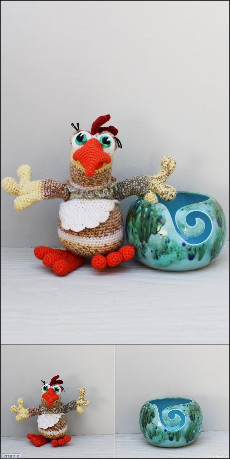 Cluck Chicken soft toy by Carlien McPhee and yarn Bowl by Ceramix