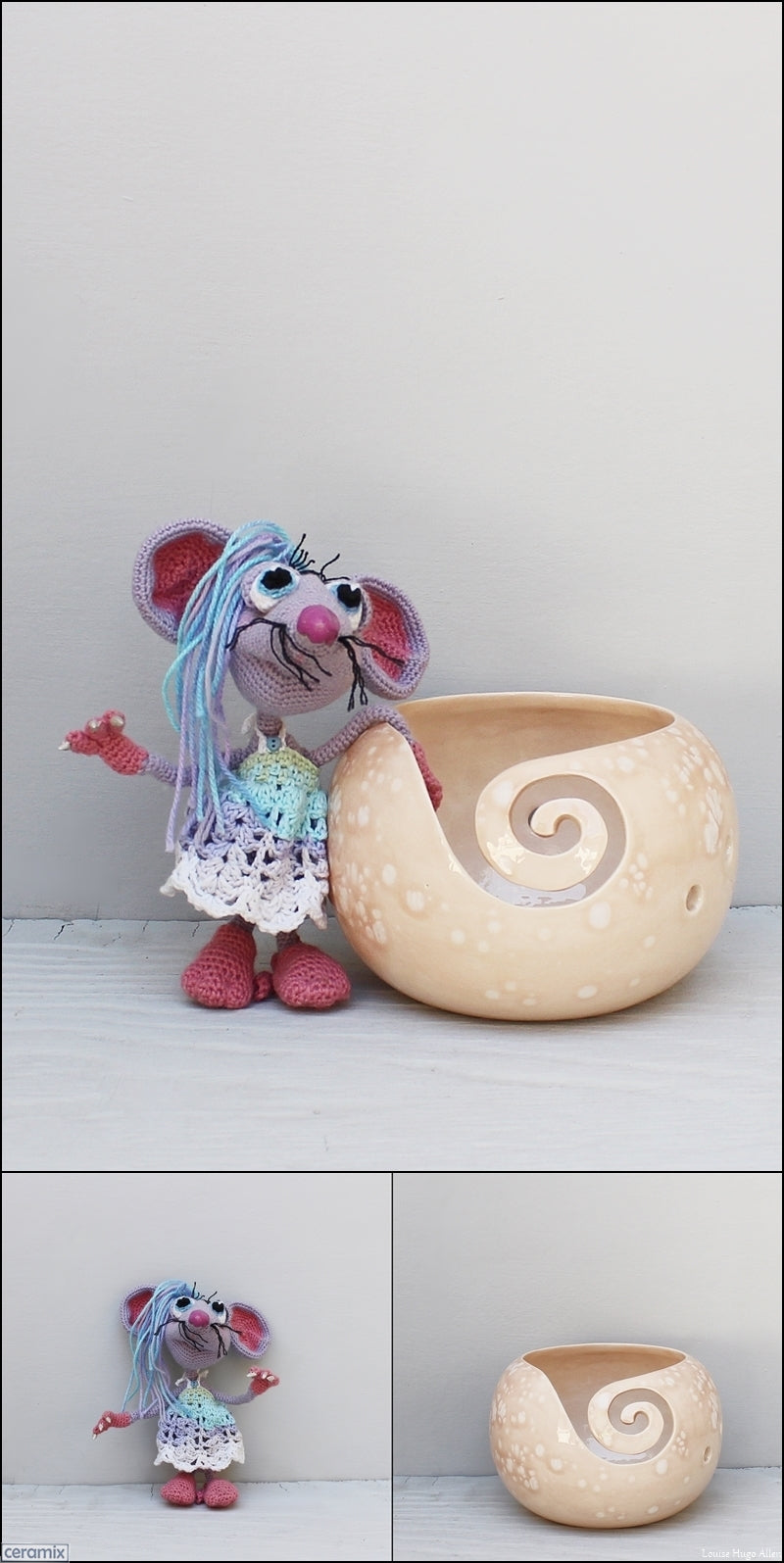 Lucy Mouse soft toy and yarn bowl