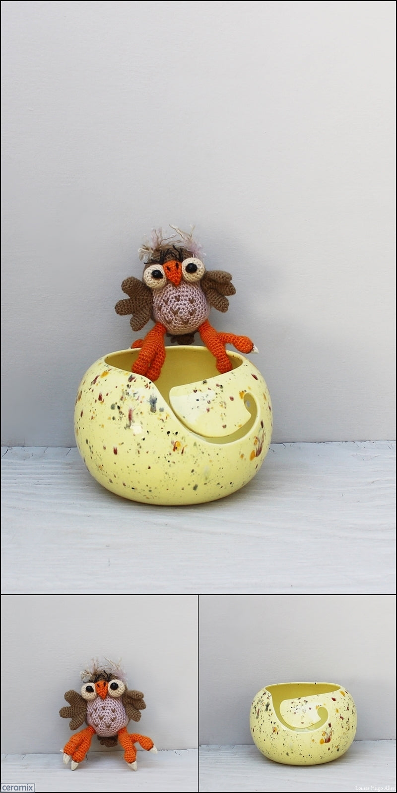 Wizzy Owl soft toy by Carlien McPhee yarn bowl by Ceramix