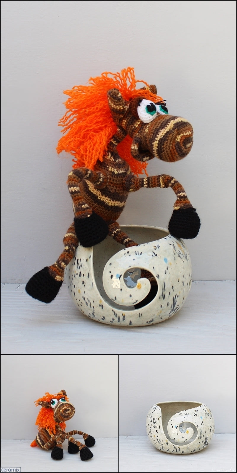 Bony Pony soft toy and yarn bowl