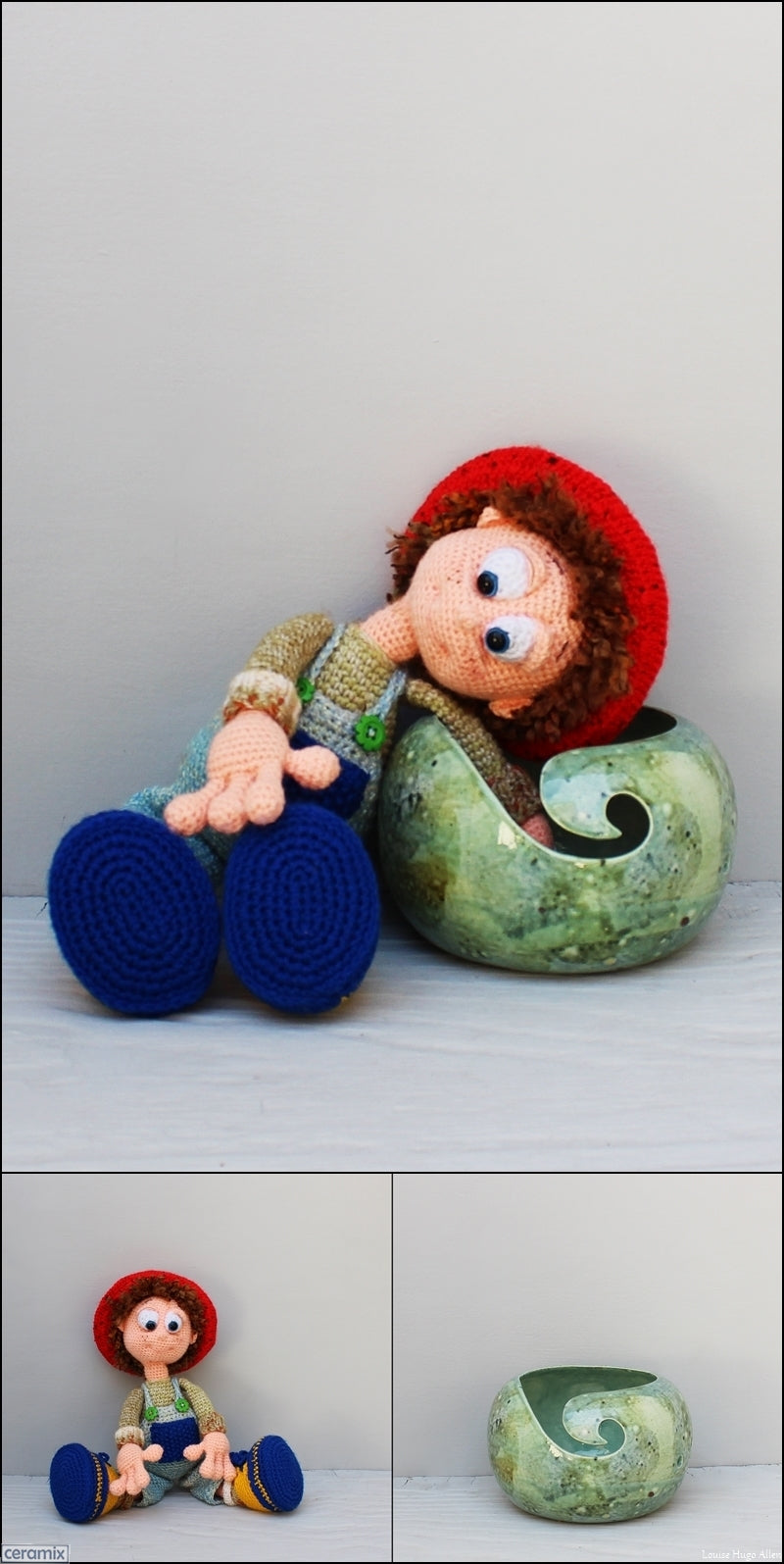 Orphan Bob soft toy and Yarn bowl handmade in South Africa