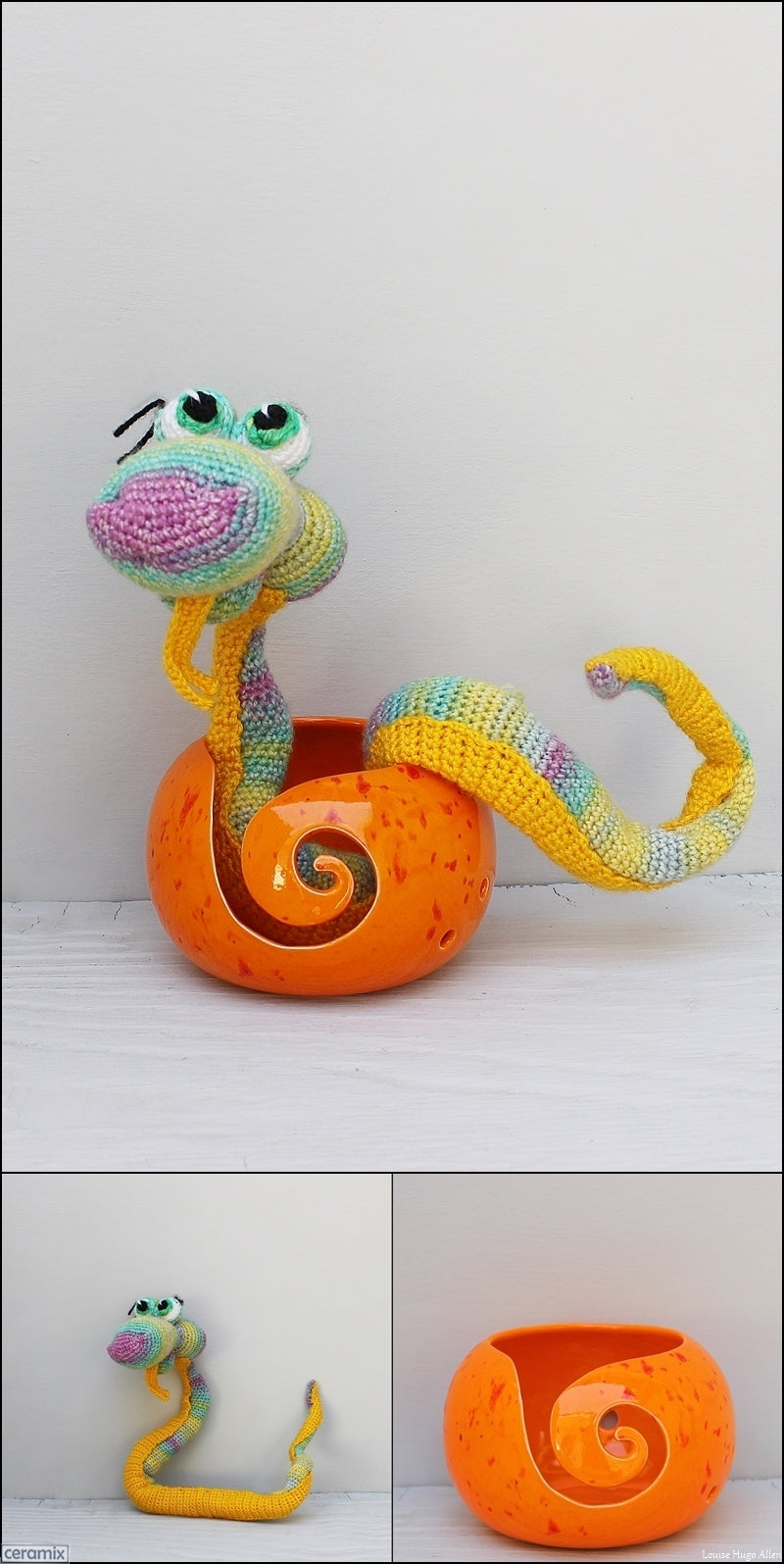 Sammy Snake soft toy & yarn bowl handmade in South Africa