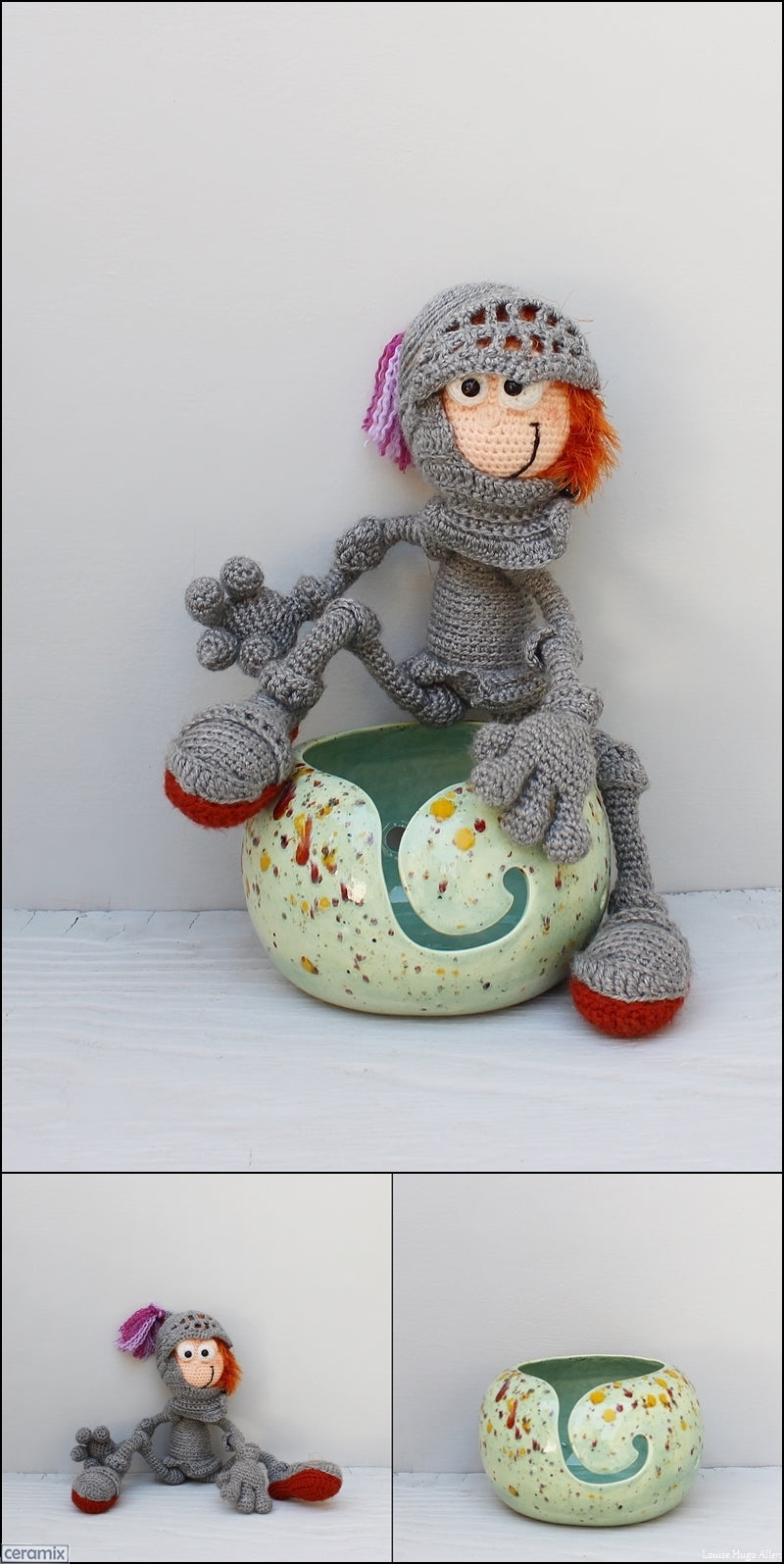 Angus the Scottish Knight soft toy and yarn bowl