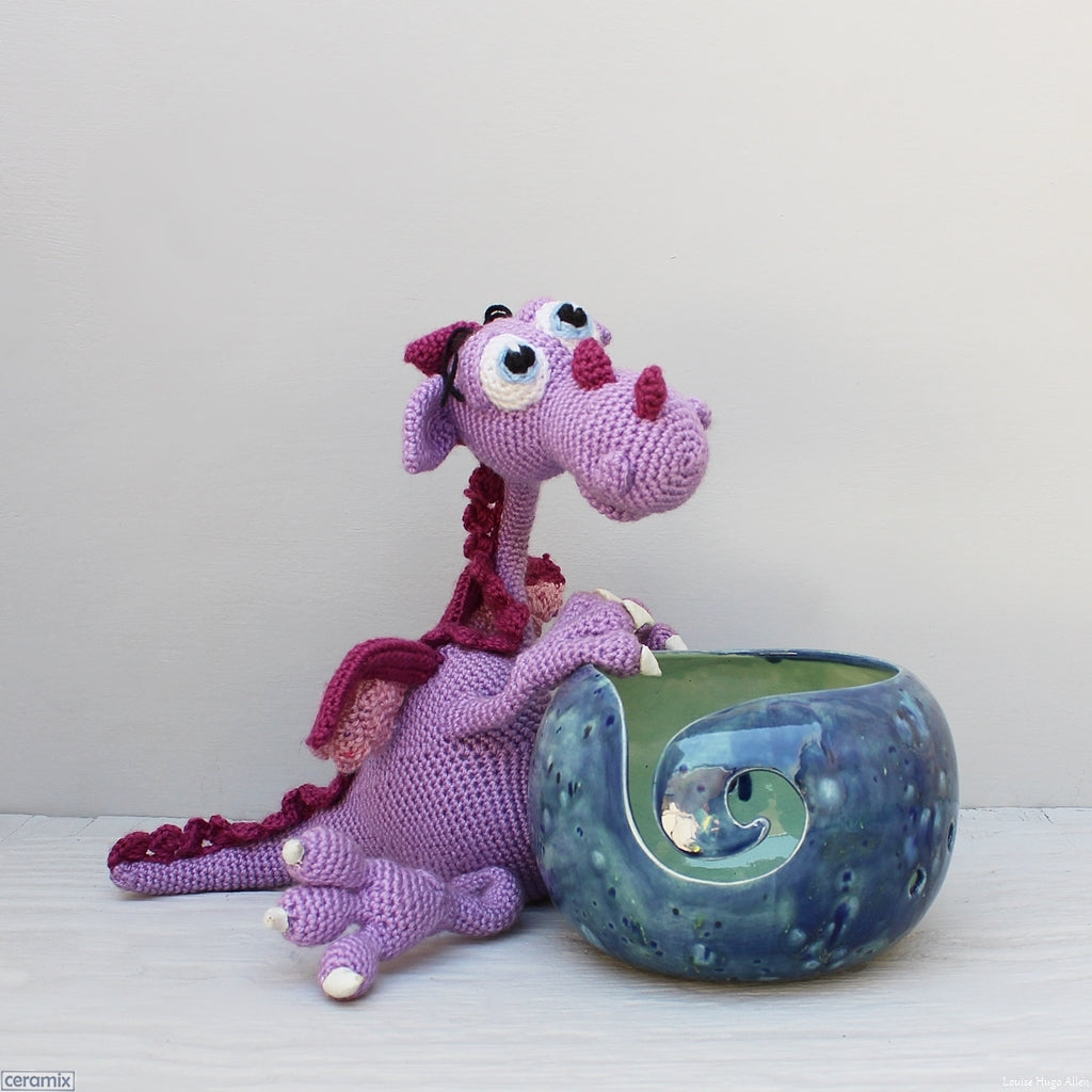 Morris the Fearsome Dragon crochet character by Carlien McPhee and yarn bowl by Margaret Melville Hugo at Ceramix