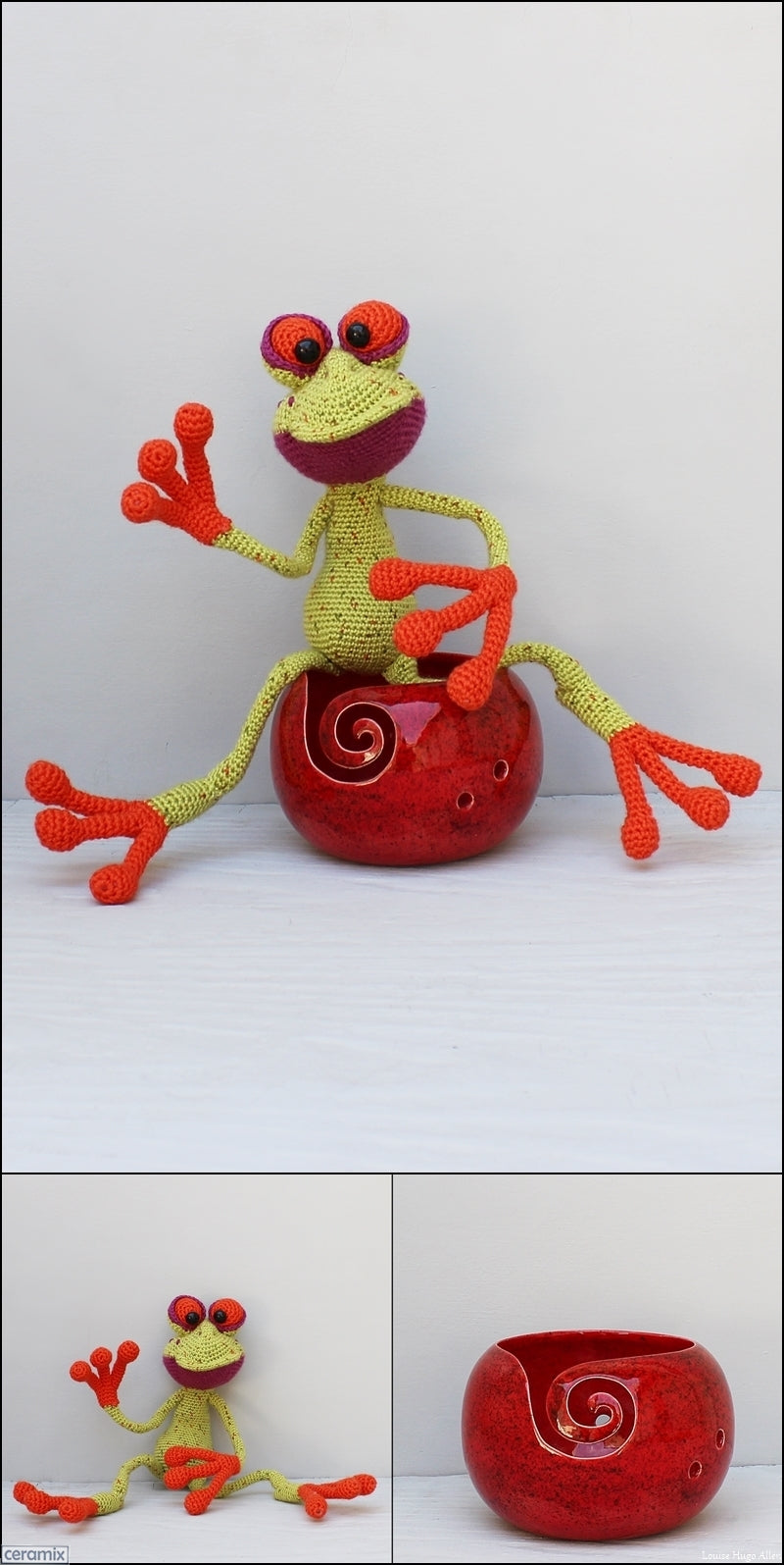Fred Frog soft toy and yarn bowl handmade in South Africa