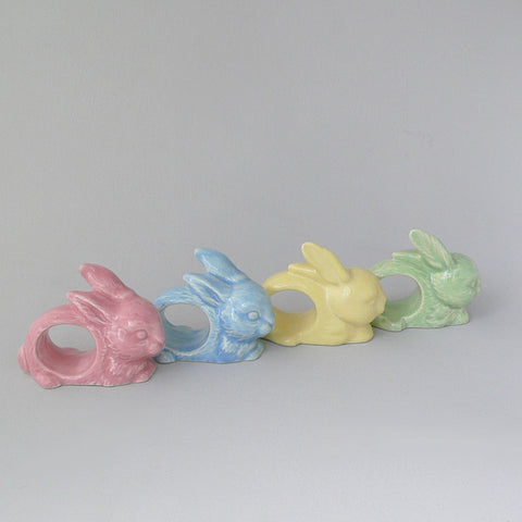 Bunny Napkin Rings in Pink, Blue, Yellow & Green by Ceramix. Handmade at a pottery in South Africa from African clay.