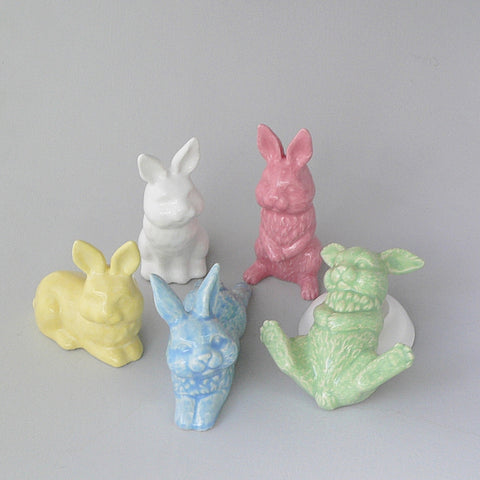 Small Bunnies in Green, Blue, Pink, Yellow & White. Handmade at the Ceramix Pottery in South Africa from African clay.
